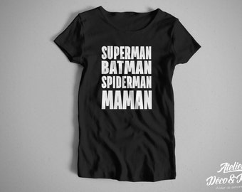 Superman Batman Spiderman MOM women's T-shirt