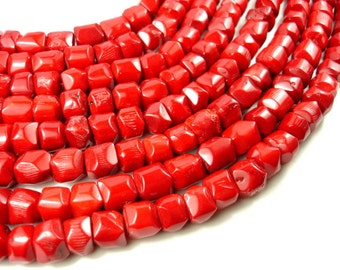 Red Bamboo Coral Beads,  Approx 12x(9-12)mm Faceted Nugget Beads, 16 Inch, Full strand, Approx 37 beads, Hole 1 mm (368065017)