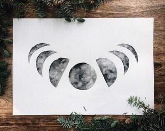 Moon Phase Watercolor Print
