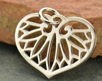 Sterling Silver, Egyptian Leaf, Leaf Charm, Egyptian Charm, Silver Leaf Charm, Silver Egyptian Charm, Egyptian Jewelry, Silver Leaf Jewelry