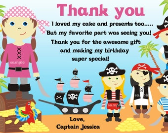Pirate thank you card, Girl pirate thank you card, Siblings thank you card, twins thank you card-Personalized-DIGITAL FILE