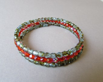 Memory wire bracelet with Orange and pale blue/brown czech beads
