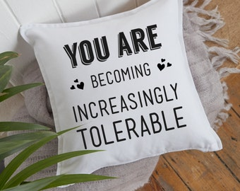 Funny Gifts | You are Becoming Increasingly Tolerable Funny Pillow | Accent Pillow | Throw Pillow | Cushion Cover | Decorative Pillow