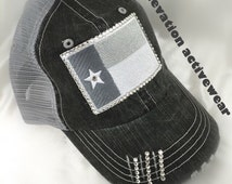 Texas Flag, Bling Trucker, Distressed, Lone Star State, Texas Apparel, Swarovski Crystals, Rhinestones, Gray and White, State Flag, Hat