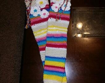 Crochet Knee High Flower Socks