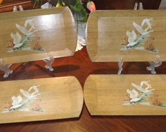 Set-of-Four-Coronet-Haskelite-Wood-Lap-Trays-with-Lithograph