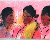 Portraits, women, expressionism, Portugal, renowned painter, women from Goa, India, original silkscreen, pink, yellow, Julio Resende,