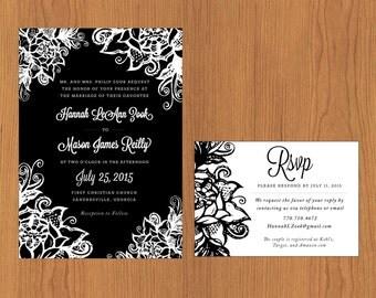 Floral Outline // Printable, DIY Wedding, Wedding Invitation, Custom Invitation