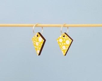 Yellow earrings, floral earrings, dangle earrings, wood earrings, unique earrings, decoupage earrings, sterling silver earrings gift for her