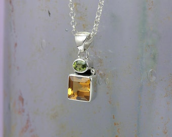 Dandelion Sterling Silver Citrine & Peridot Necklace / Square / Flower / Natural Stone / Pendant