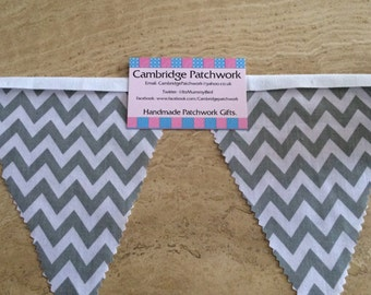 Grey and White Chevron Zig Zag Fabric Bunting per metre