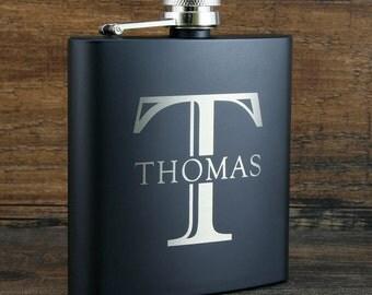 2 Monogrammed Groomsmen Flasks, Custom Groomsmen Gift, Best Man Gift, Wedding Gift Ideas, Engraved Black Flask, 6oz Stainless Steel Flask