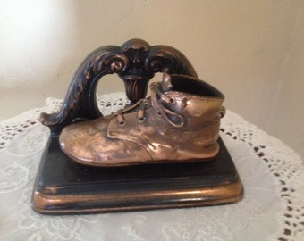 Vintage Pair Bronzed Baby Shoes Bookends- Copper Tone