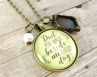 Memorial Necklace in Loving Memory of Mom or Dad, You Walk Beside Me Every Day Vintage Bronze Pendant, Bouquet Photo Charm Wedding Memory