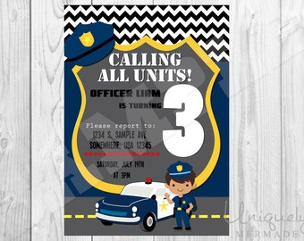 Police Birthday Invitation- Personalized- DIGITAL- Police Birthday Invite- Police- Printable