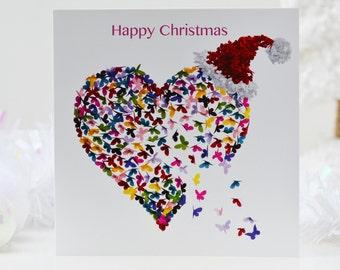 Christmas Butterfly Heart Card, Romantic Christmas Card, Heart Christmas Card, Wife Christmas Card, Partner Christmas Card, Love Card