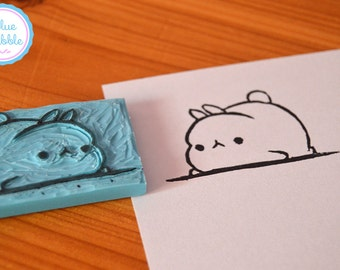 Hand carved Molang rubber stamp