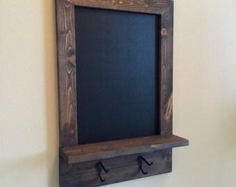 Rustic Chalkboard with Shelf and Hooks     -    (wood chalkboard, rustic chalkboard)