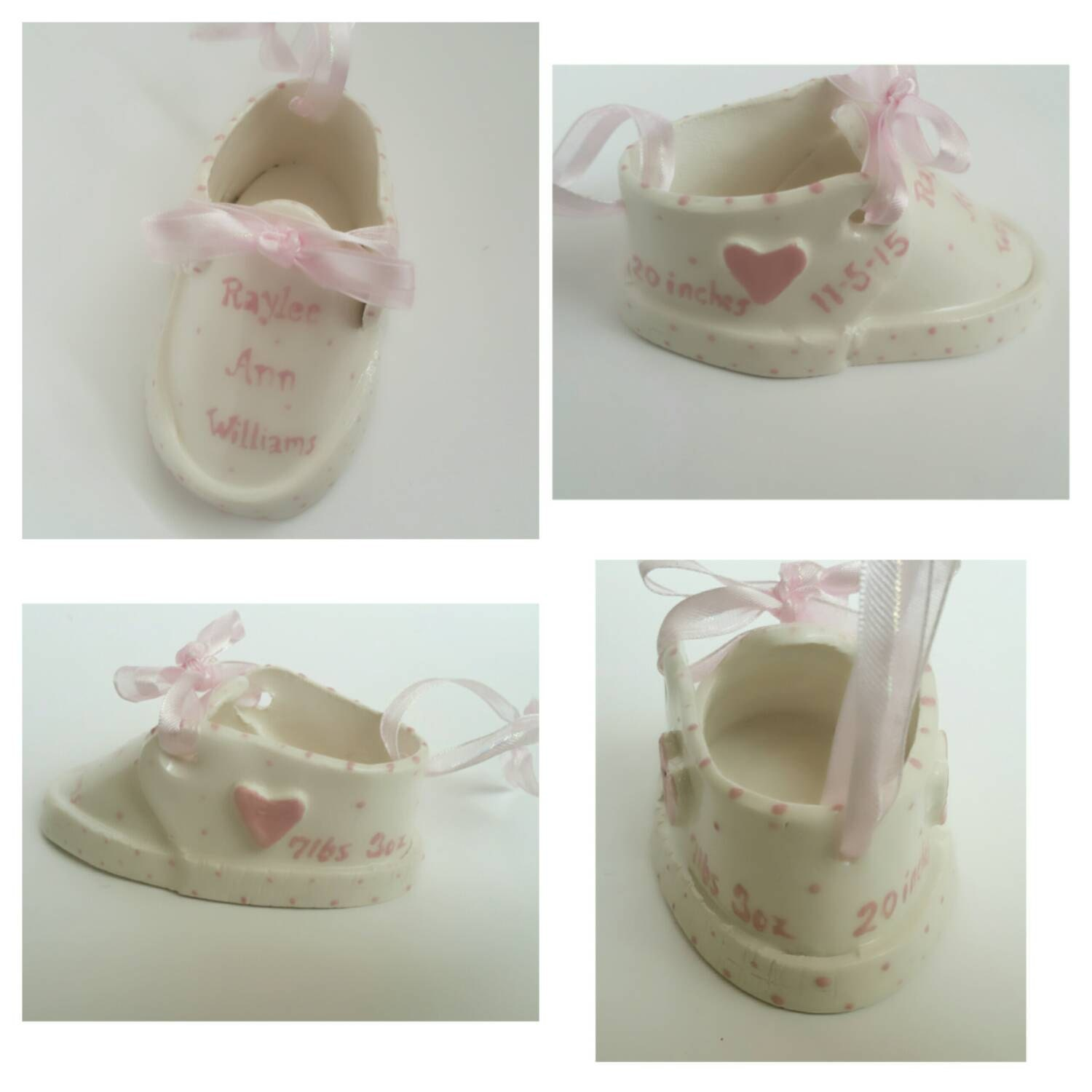 Personalized Ceramic Baby Girl Shoe Custom Baby by