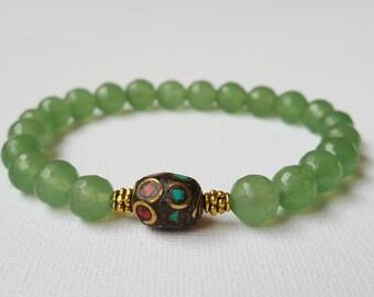 8 mm Faceted Green Aventurine bracelet, Green bracelet, Tribal Charm bracelet, elastic bracelet, Beadwork, Free shipping
