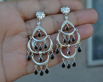 Long Boho Earrings, Sterling Silver Earrings, Tribal Earrings, Black Onyx Earrings, Onyx Earrings, Boho, Vintage Onyx Earrings (V118)
