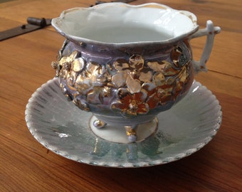 Vintage Blue and Gold Tea Cup and Saucer
