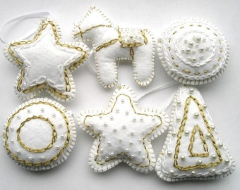 Felt ornaments christmas tree ornaments White Gold Snow, set of 6 pieces hanging star ball horse