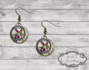 Steampunk Earrings with Pink Gems - steampunk accessory, cosplay, gift for her, industrial, mechanical, pink, steampun fan.
