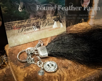Handmade Horsehair Tassel Key Ring with Silver Charms and Jewels