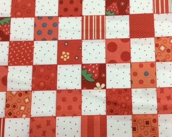 "P & B Textiles Fabric  ""Elanors Picnic"" by Piece O Cake Designs- One Yard Cut.  Red and white check fabric."