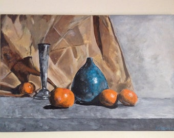 original acrylic still life painting of two vases and some oranges on a 30x20 inch stretched canvas