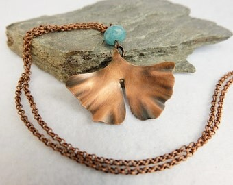Ginkgo leaf necklace, Copper necklace, Flower Jewelry, Long necklace, Copper leaf pendant