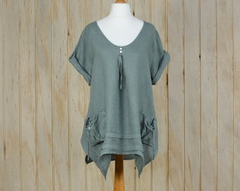 Plus Size UK 16 18 20/US 14 16 18 Lagenlook Tunic Top Italian Loose Heavy Linen Quirky Khaki New