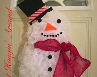 Snow man deco mesh wreath/winter wreath/christmas wreath
