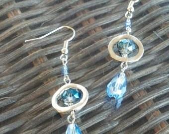 Blue Glass Teardrop Bead and Silver Earrings