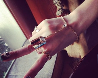 Women's Gold Slave Boho Bracelet and Ring Hand Harness
