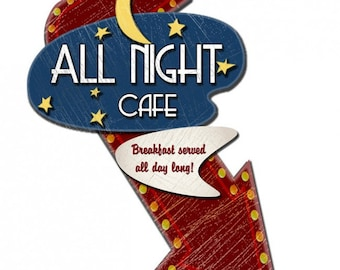 All Night Cafe Metal Sign