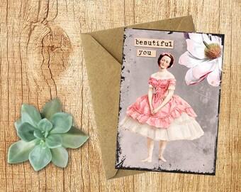 Printable Friendship Card - Original Collage Art - Blank Greeting Card - Birthday Card - Vintage Ballerina - Wedding Card - Art Card