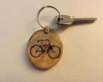 Vintage bicycle keychain keyring
