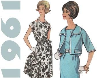 1960s Dress and Jacket Pattern SIMPLICITY 3887 sz 16 b 36 Pencil Dress Cropped Jacket Short Sleeve Jacket Vintage Dress Skinny Dress Pattern