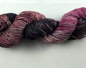 hand dyed sock yarn, fingering weight, superwash merino and nylon, NEW multi-colorway CHOCOLATE CHERRY