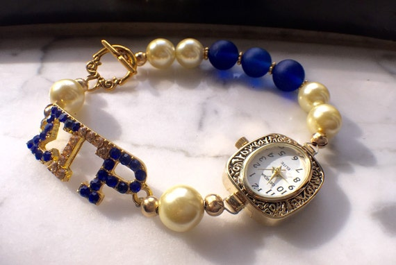 Sigma Gamma Rho Bracelet Watch- Blue and Gold