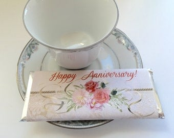 Thank you favors, Custom candy wrappers, bridal shower favor, Floral Party Supplies, Anniversary favors, Tea Party Favors, shabby chic