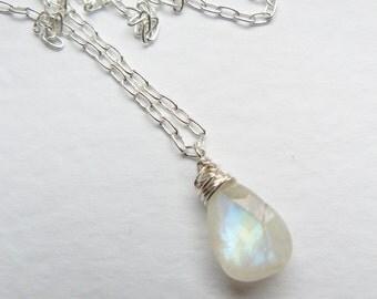Delicate Rainbow Moonstone Silver Necklace