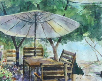 Garden Patio Watercolor Original painting on Arches Paper (Title: Waiting)