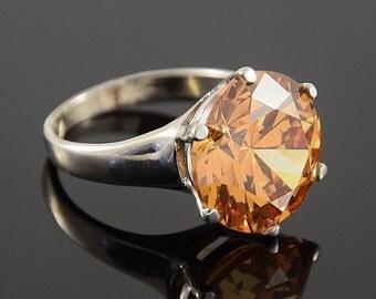 Cubic zirconia ring, Statement ring, Silver ring woman, CZ ring silver, Big stone ring, Custom stone ring, Orange ring, Orange stone ring