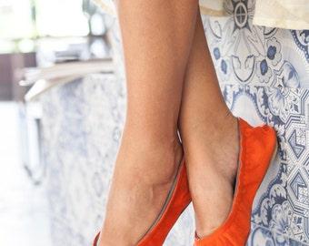 Red Leather Women's Ballet Flats, Women's Leather Flat Shoes,  Leather Flats,  Ballerina flats