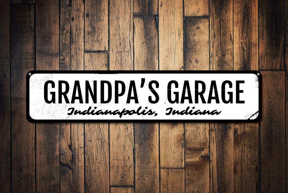 Personalized Garage Signs : Grandpa s garage sign gift for mechanic custom