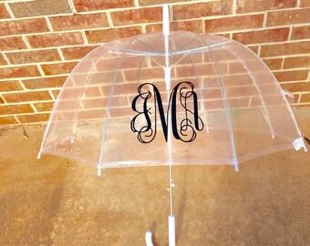 Clear Dome Umbrella Custom Monogram Rain Umbrella Monogrammed Wedding Gift