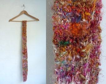 rainbow scarf, hand knit scarf, shag scarf, long scarf, colorful crochet scarf, acrylic yarn scarf, fall scarf, winter scarf